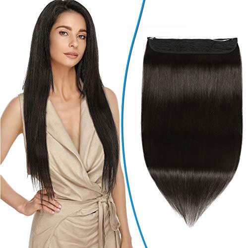 Silk-co Extension con Filo Trasparente Capelli Veri Double Weft 90g Fascia Unica Remy Hair 40cm Wire in Extension Capelli Umani - 1B Nero Naturale