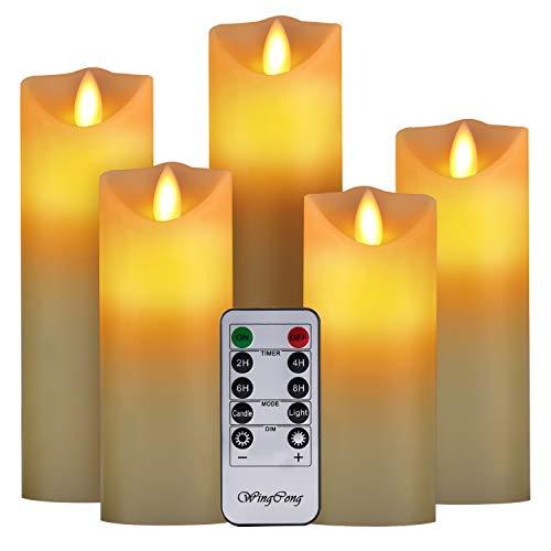 Candele a LED, senza fiamma, set di 5 candele decorative 5.5/6/6.5/7/8〞. La vera fiamma a LED lampeggiante è realizzata in vera cera di colore beige, telecomando con 10 tasti con funzione timer 24 ore