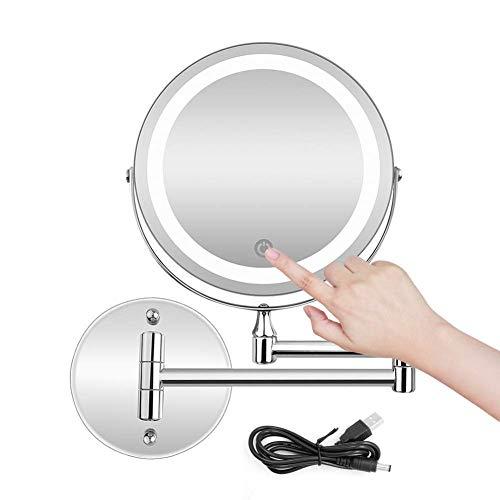 MRJ Specchio Ingranditore con Luce LED, Specchietti da Trucco a Parete Bilaterali a LED, Cromato in Metallo, Lente d'Ingrandimento 10x e Specchio Piatto, USB Ricaricabile