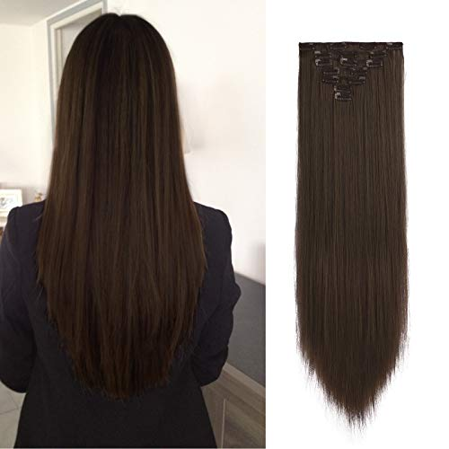 FESHFEN Extension Capelli Clip Lisci, 55 cm Extension con Clip Sintetici Extension Capelli Naturali Lisci Lunga 7 pcs 16 Clips Hair Extension