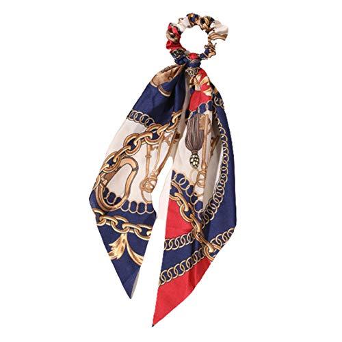 Scrunchies per capelli con fiocco in raso lungo coda elastico fiocco sciarpa scrunchie Vintage coda di cavallo cravatte bande per ragazza