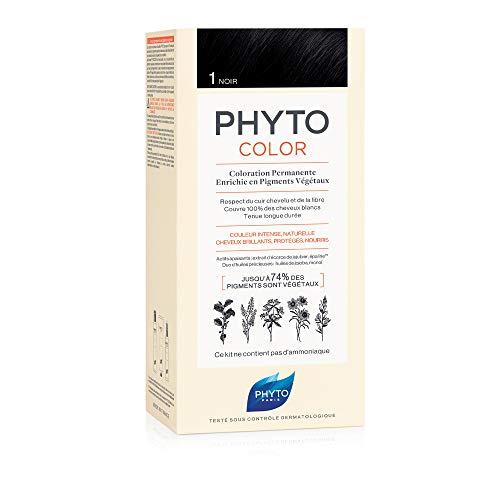 Phyto Phytocolor 1 Nero Colorazione Permanente senza Ammoniaca, 100 % Copertura Capelli Bianchi
