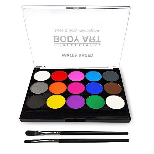 OGIMA - Kit di pittura per il viso e il corpo, 15 colori, tavolozza professionale, lavabile, con pennello, per bambini, eventi artistici, Halloween, feste, cosplay, make-up per il corpo