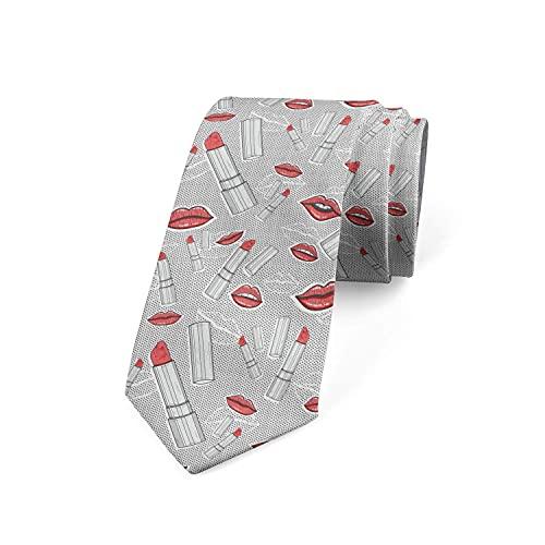 Paedto Cravatta Uomo, Cravatta da Uomo di Moda Novità Cravatte Sottili da Uomo, Cravatte alla Moda per Affari Formali Casual (Labbra e Rossetti Retro)-8x145cm