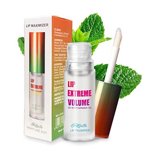 GL-Turelifes Lip Plumper Lucidalabbra, Ginger Mint Balsamo per le labbra Plumper Lip Volume estremo, Migliora le labbra idratate, Idrata, Elimina le rughe della secchezza (Trasparente)