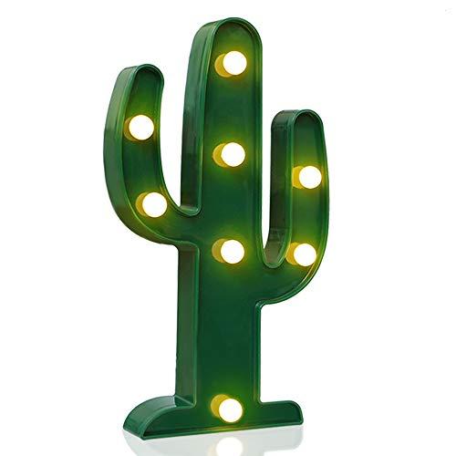 Novelty Place Cactus di Design Luminoso, Lampada LED Bianco Caldo e Verde Tropicale - Soggiorno, Camera e Parete Decorazioni Natalizie Bambini & Adulti - Alimentazione a Batteria Altezza 10 Pollici