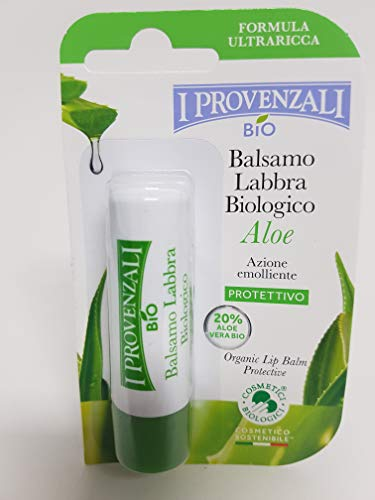 I Provenzali Bio - Balsamo naturale per le labbra, con 20% di aloe 5,5 ml, 100% vegano