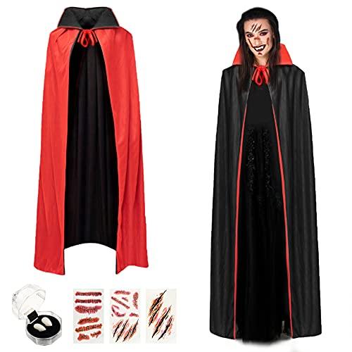 Herefun Mantello da Vampiro, 150 cm Vampiro Collo Alto Mantello, Halloween Nero Rosso Reversibile Mantello, Costume da Vampiro con Denti, Adesivi per Tatuaggi per Bambino o Adulto