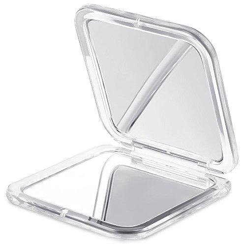 Jerrybox Specchio Tascabile con lente d'ingrandimento, Specchio Compatto, Portatile, Bifacciale, Ingrandimento 10x e Specchio 1x, per gli Uomini e le Donne