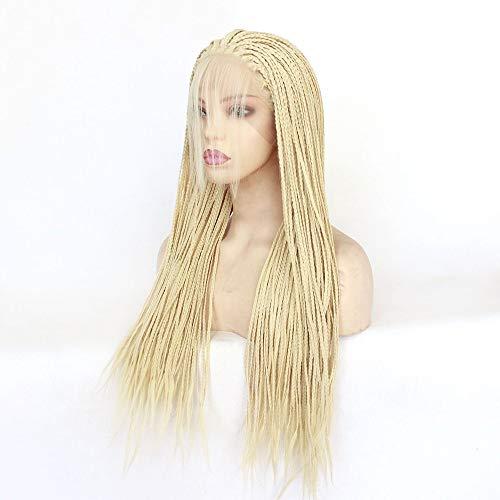 MQSS 24''Lunga Trecce Front Lace Parrucca Naturale Bionda Lunghe Parrucca da Donna Afro-Americane Parrucche Sintetiche Pizzo Frontale Wig Capelli del Bambino