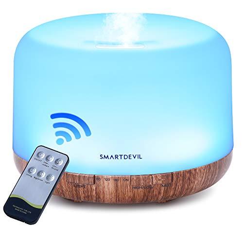 SmartDevil 500ml Diffusore di Oli Essenziali con Telecomando, Ultrasuoni Umidificatore Diffusore di Aromi con 7 Colori LED per Yoga, Spa, Ufficio, Casa