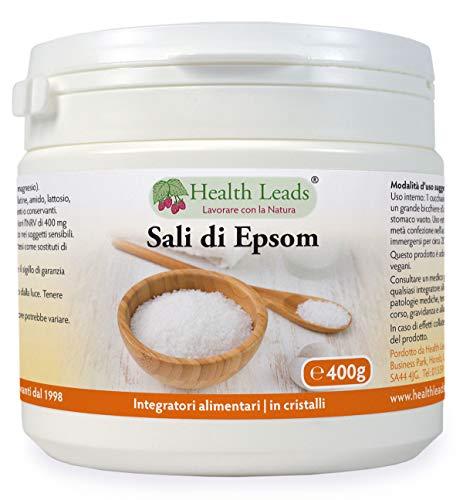 Puro, qualità alimentare Sali Epsom 400g, Sali di magnesio solfato, Ampiamente usato per aiutare a rilassare i muscoli doloranti e stanchi dopo lo sport e l'esercizio fisico, Contenitore richiudibile