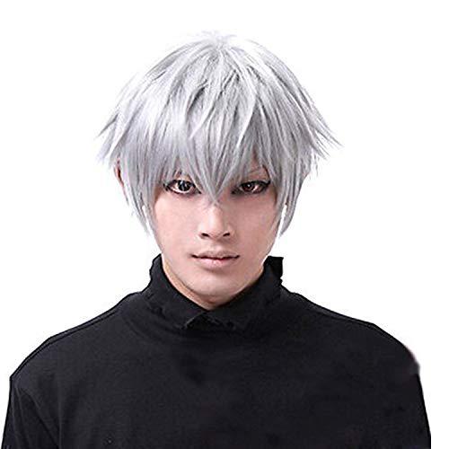 Halloween mens parrucca corta parrucca cosplay taxo ghouls ken kaneki parrucca cosplay parrucca elegante per Natale Halloween Party Decorazioni per Halloween