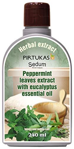 Estratto di oli con erbe naturali Sedum per sauna, massaggi - Infuso di sauna con Estratto di foglie di menta piperita con olio essenziale di eucalipto, miele e sale di iodio - 240 ml
