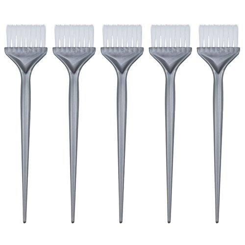 5 Pezzi Pennelli di Tintura Colorazione per Capelli Kit Colorazione Tintura per Capelli Maniglia Parrucchiere Colorazione Candeggina Utensili Fai Da Te, Argento Grigio