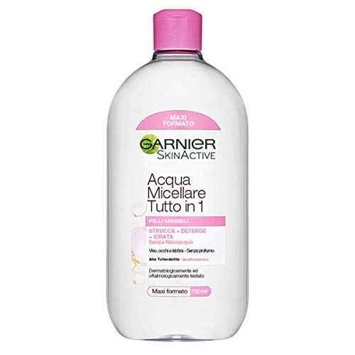 Garnier Acqua Micellare Pelli Sensibili Tutto in 1, Strucca, Deterge e Idrata senza Risciaquo - 700 ml, Confezione da 1