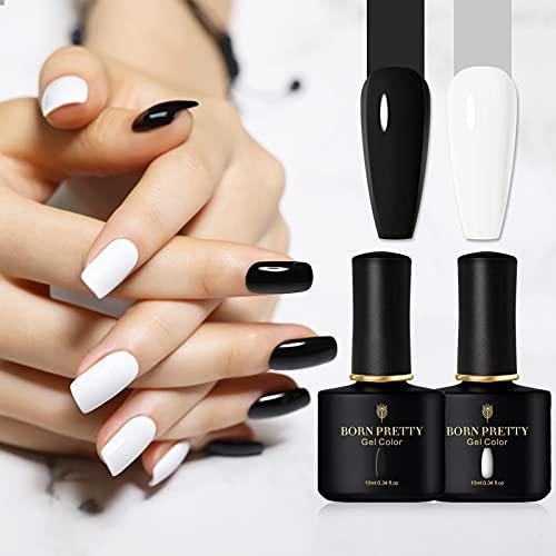 BORN PRETTY Kit Smalto Semipermanente Nero e Bianco, Smalti Semipermanenti per Unghie Colori Nail Polish UV LED Gel Unghie Kit Manicure Smalti per Unghie