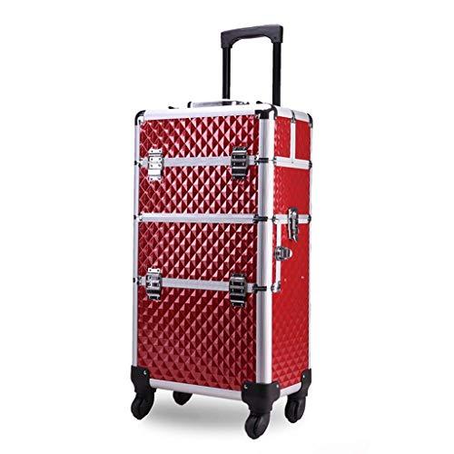 Caso cosmetico del carrello, cassetta portaoggetti del chiodo di grande capacità, caso di trucco di viaggio doppio aperto di tre pavimenti, multi-colore facoltativo (colore : Red)