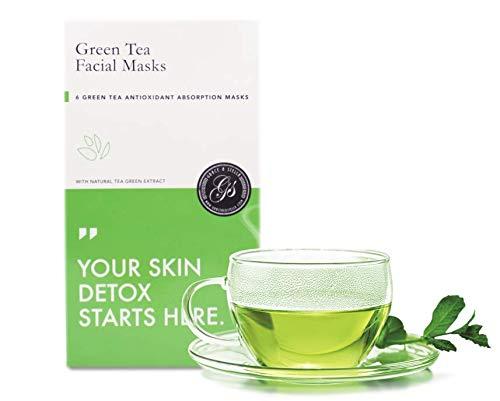 Maschere facciali foglia di tè verde per la pelle chiara e luminosa - il miglior set regalo - ideale per la rimozione di rughe e brufoli 6 parti