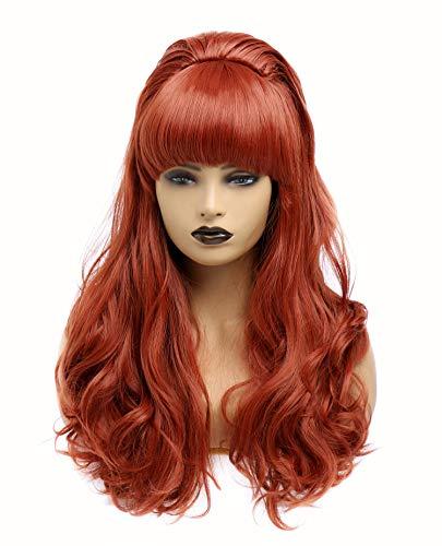 Parrucche rosse ricce ondulate a testa piena ondulate lunghe per le donne Parrucca da festa in costume cosplay con frange per anni '70