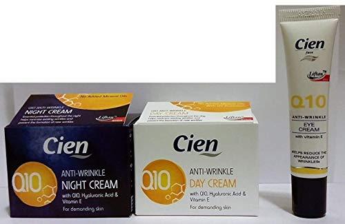 Set di 3 creme cien Antirughe Q10 (1 x 50 ml crema giorno + 1 x 50 ml crema notte + 1 x 15 ml crema per gli occhi)
