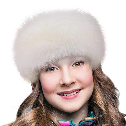 FHQHTH Cerchietti e fasce per capelli in pelliccia sintetica con cappucci invernali elasticizzati elastici [bianca]