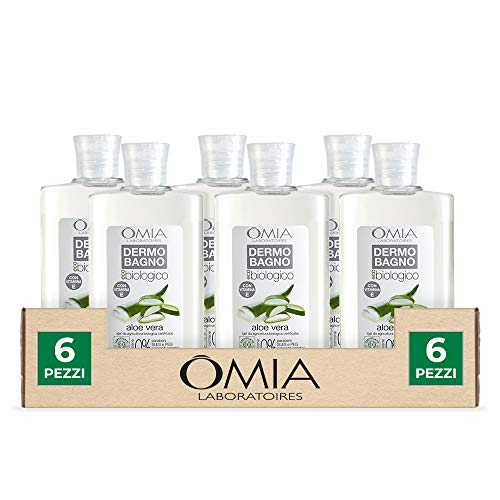 Omia, Dermobagno Ecobio Aloe Vera, Bagnoschiuma Per Pelli Secche e Delicate - 6 Confezioni da 400 ml
