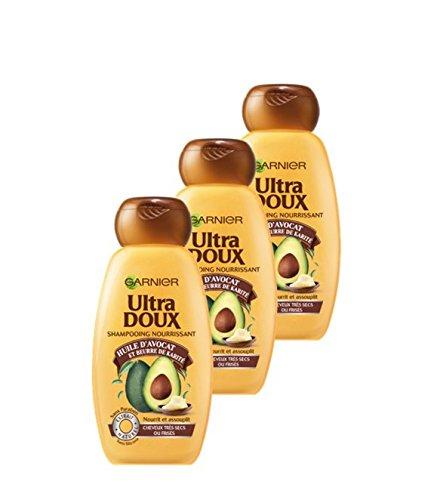 GarnierUltra Dolce - Shampoo per capelli molto secchi/ricci, con olio di avocado/burro di karité, 250ml–set di 3