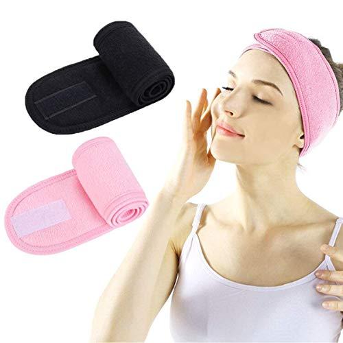 Fascia Spugna Makeup - Fascia per Capelli per Trucco Spa per Doccia Regolabile in Velcro per Lavaggio del Viso, Trucco e Sport (black+pink)