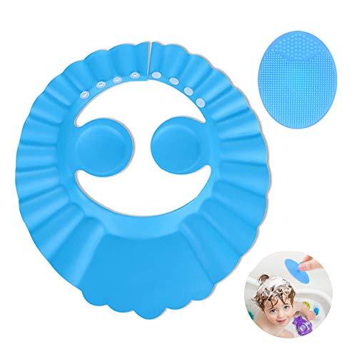 JIUJIU cuffia per la doccia per bambini e neonati, spazzola in silicone,morbida regolabile con protezione per le orecchie evita gli occhi da acqua e shampoo Protegge per la cura del bambino