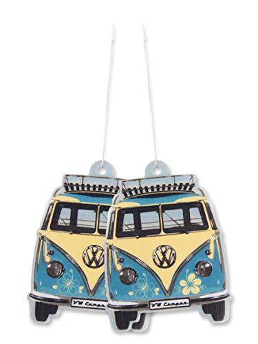 BRISA VW Collection - Volkswagen Hippie Bus T1 Camper Van Deodorante per auto, Profumo per ambiente, Diffusore di fragranza, Purificatore, Accessorio per Macchina (Piña Colada/Azzurro) -Set da 2 pezzi