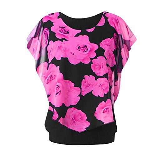 Xmiral Camicia Donna Maglietta Girocollo a Manica Lunga con Stampa t-Shirt Maniche Corte XXXL Rosa Caldo