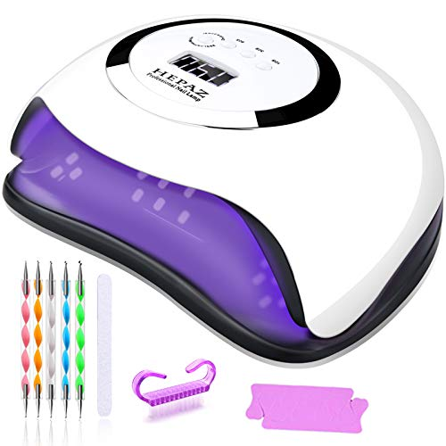 HEPAZ Lampada Unghie UV LED,168W Fornetto per Manicure/Pedicure Permanente Smalto Semipermanente 4 Timer con 10s/30s/60s/99s Display LCD Automatico Sensore