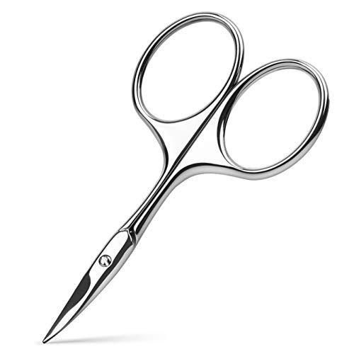 BEZOX Forbici a lama curva, usate come forbici per cuticole, forbici per unghie o sopracciglia, forbici professionali in acciaio inox per manicure per uomo e donna, con custodia in pelle