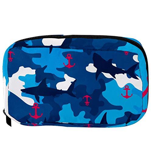 Sacchetti cosmetici Rosy Anchor Navy Shark Blue Camo Handy Toiletry Travel Bag Oragniser Makeup Pouch per donne e ragazze