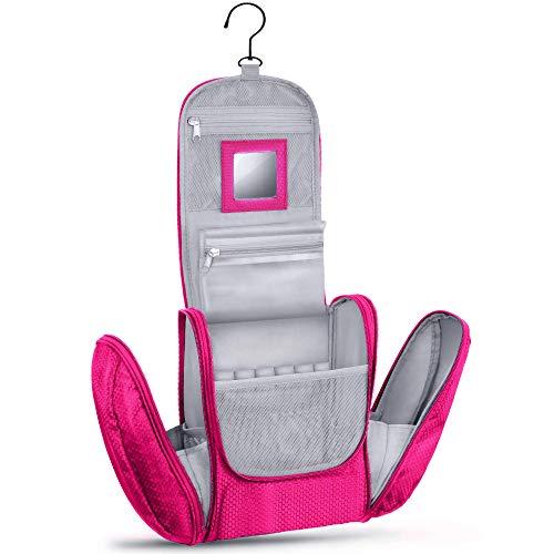 KRONIFY Beauty Case da Viaggio donna Grande con Specchio per Donna e Uomo Pochette da Bagno Lavabile Grande XXL per Cosmetici Borsa Spaziosa Donna e Uomo con Gancio (Rosa)