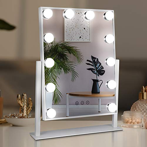 TOGETOP Specchio con Luci Hollywood, Specchio Trucco 30x40x3cm con Ricarica USB/12 lampadine LED/3 Colori di luminosità Regolabile/Funzione di Memoria/Controllo tattile/Rotazione di 360 ° (Bianco)