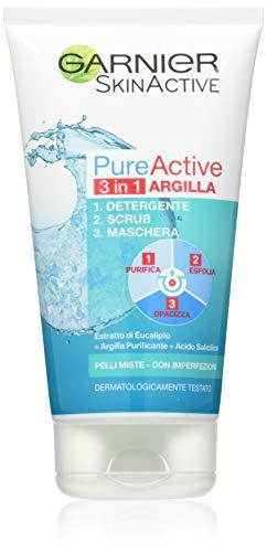 Garnier Pure Active 3 in 1 Detergente + Scrub + Maschera per Pelli Miste - Con Imperfezioni, 150 ml
