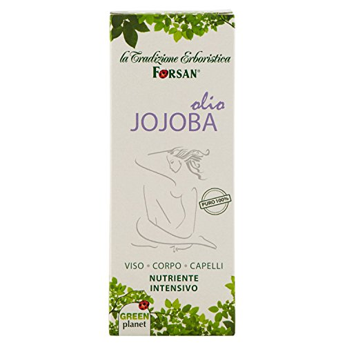 La Tradizione Erboristica Forsan - Olio Jojoba Puro al 100% - Olio Nutriente Per Massaggi al Corpo, Pelle del Viso e Capelli - 50 ml
