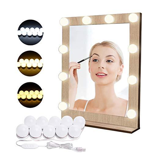 Luci di Specchio per Trucco LED Lampada da Specchio Cosmetico di Stile Hollywood Lampadine Regolabili 10 Pezzi da Bagno EVILTO con Porta USB, 10 Livelli di Luminosità e 3 Modalità Colore 3000K-6500K