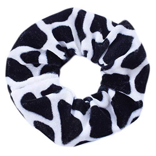 Karrychen Donne Ragazza Vintage Bohemian Leopard Zebra Stripes Corda per Capelli Velluto Peluche Scrunchies Intestino crasso Porta Coda di Cavallo Stile Coreano