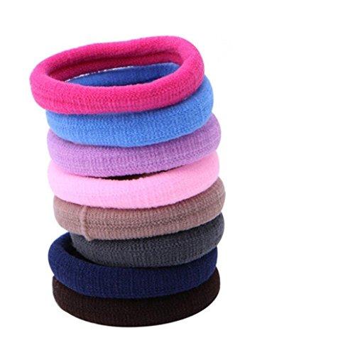 50elastici per capelli per code, spessi e senza cuciture, in cotone, con forma ad anello Colorato Medium