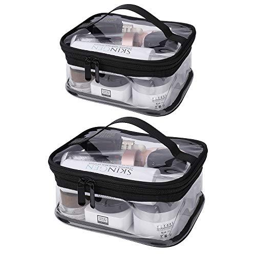 Borse da Toilette Trasparente 2 Pezzi Impermeabile PVC Sacchetto di Cosmetica da Viaggio Portatile Pochette Trucco con Cerniera per Uomini e Donne (Due Dimensioni)