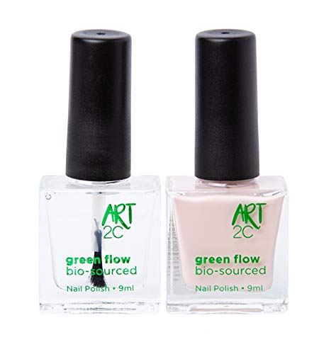 Art 2C, smalto per unghie vegan e bio 85% brevettato, ultra-puro, 2 x 9 ml - 1 Base/Top Coat + 1 colore nude