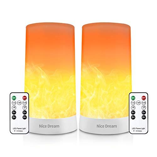 Candele LED Effetto Fiamma con Telecomando e Timer, USB Ricaricabile, 2 Lampade LED Effetto Fiamma, Decorazione Lanterna da Giardino, Vasi di Vetro, Tavolo da Pranzo