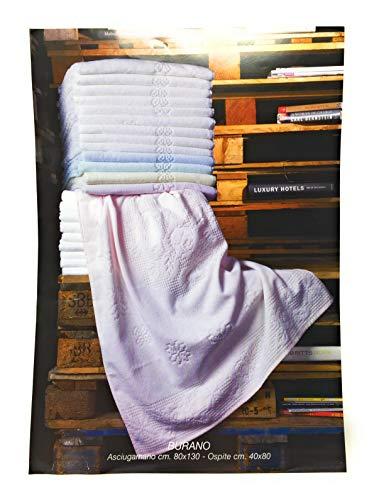 BESANA Set Asciugamani 6+6 Art. Burano in Pura Spugna idrofila Lavorazione Jacquard Misura Maxi Tinta Unita Colore Bianco