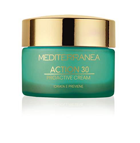 Mediterranea - Action 30 Proactive Cream - Crema Viso Idratante Antietà Giorno e Notte per Pelli Giovani - Azione Detossinante e Antiossidante per Prevenire le Rughe - 50 ml