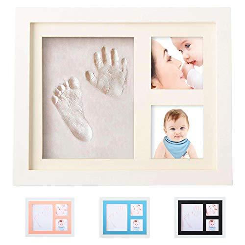 Smile Mind® Cornice impronte neonato 4 in 1 con decorazioni in vari colori, Kit porta foto mani e piedi neonati Personalizzabile, Idea regalo per lista nascita bebè, battesimo bimbo o bambina.
