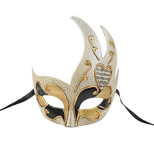 BLEVET Vintage Venezia Halloween Masquerade Costume Mardi Gras Maschili novità Maschera a Faccia Intera di Carnevale MZ061 (Black)