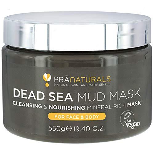 PraNaturals Maschera ai fanghi del Mar Morto 550g, 100% Naturale, Ricca di minerali nutrienti, Idrata e disintossica la pelle, Libera i pori, Esfolia le cellule morte